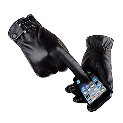 EONPOW Men's Touchscreen Texting Leather Gloves Winter Warm Black Soft Gloves Cashmere Lining