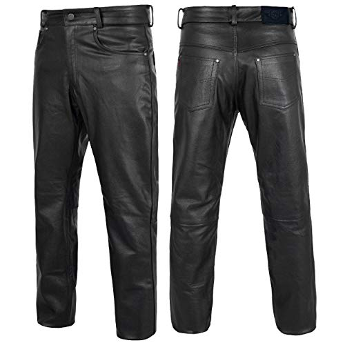 Alpha Cycle Gear Leather Motorcycle Pant for Bikers Rider Moto Sports Real Cowhide Leather for Men...