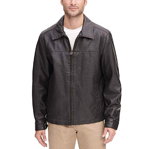 Dockers Men's Classic Faux Leather Jacket (Regular and Big and Tall Sizes), Dark Brown, XL