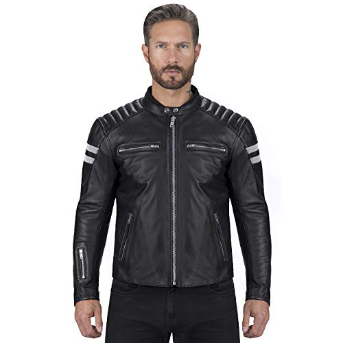 Viking Cycle Leather Motorcycle Jacket for Men – Biker BloodAxe Armor Protection (Large)