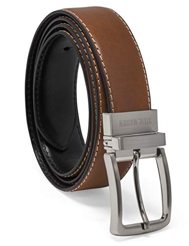Steve Madden Men's Dress Casual Every Day Reversible Leather Belt, Cognac/Black (Feather Edge), 36