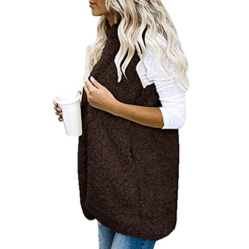 RFTGYHUK Womens Vest Autumn and Winter Warm Hoodie Outwear Casual Coat Sherpa Jacket Coffee