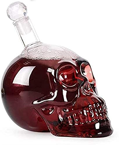Whiskey Decanter Set Men Engraved Clear Glass Skull Bottle Decanter, Wine Bottle Glass Whiskey...