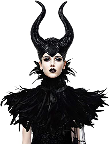 Gothic Black Crow Costume Feather Cape Shawl with Maleficent Horns Cosplay Set
