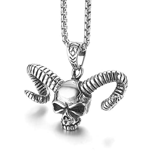 SWAOOS Gothic Stainless Steel Bull Skull Fashion Pendant and Men Necklace Cool Handsome