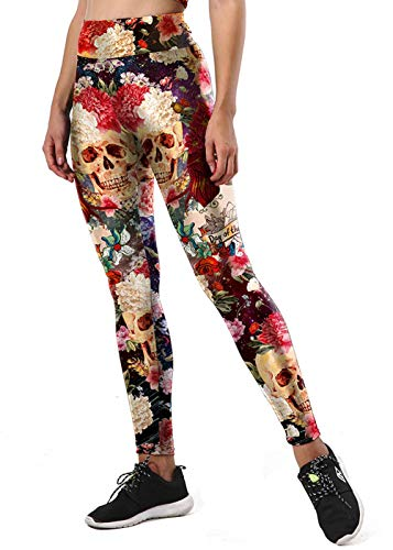 GRACIN Womens Sugar Skull Leggings 3D Printed Halloween Costume Day of The Dead Tights Workout...
