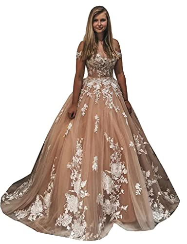 Elmass Champagne Sweetheart Neckline Sequins Lace up Corset Bridal Ball Gowns with Train Wedding...