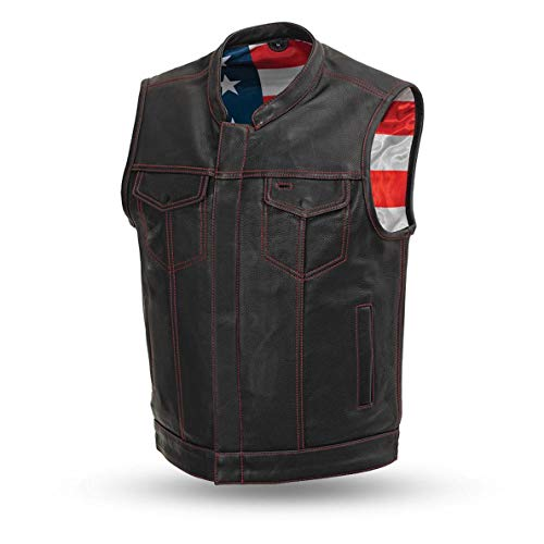 First Manufacturing Men's Leather Motorcycle Vest with Gun Pockets Solid Back Hidden Zipper American...