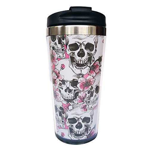 wodealmug Women's Floral Skull Travel Coffee Mug Thermal Insulated Tumbler Cup With Lid 14 OZ