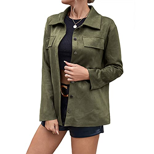 Women's Faux Suede Leather Jacket Simple Lapel Button Down Long Sleeve Coat Outwear (Army Green,...