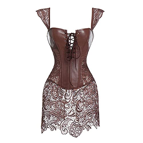 Faux Leather Corset Gothic Bustier Sexy Lingerie Steampunk Costume Dresses Woman Slimming Sheath Top...
