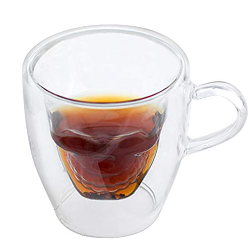 PLAFUETO Cool Skull Coffee Mugs Double Wall Glass Cup Insulated Espresso Mug with Handle for...