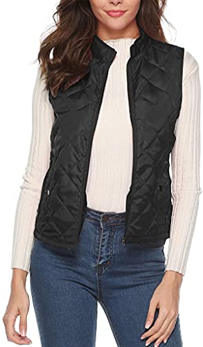 Women's Lightweight Sleeveless Solid Color Padded Zip Quilted Vest Gilet