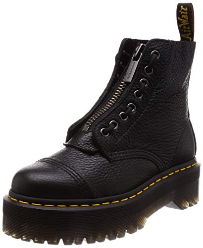 Dr. Martens Women's Sinclair 8 Eye Leather Platform Boots, White Milled Nappa Leather, 8 Medium US