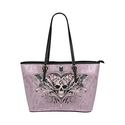 InterestPrint Vintage Skull Heart with Rose Leather Tote Shoulder Bags Zippered Handbags for Women