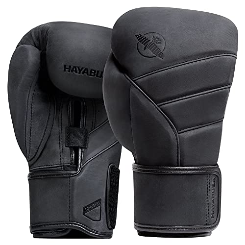 Hayabusa T3 LX Leather Boxing Gloves for Men and Women - Black, 14 oz