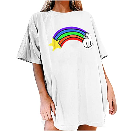 Tank Tops for Women Trendy Oversized Drop Shoulder Sleeve Rainbow Loose Fit Plus Size Casual Floral...
