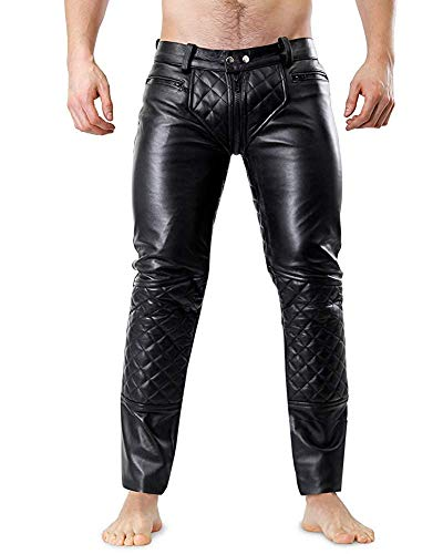 LE CRAZE Men's Leather Pant Genuine Lambskin Slim fit Leather Quilted Casual Trouser Pants MP08...