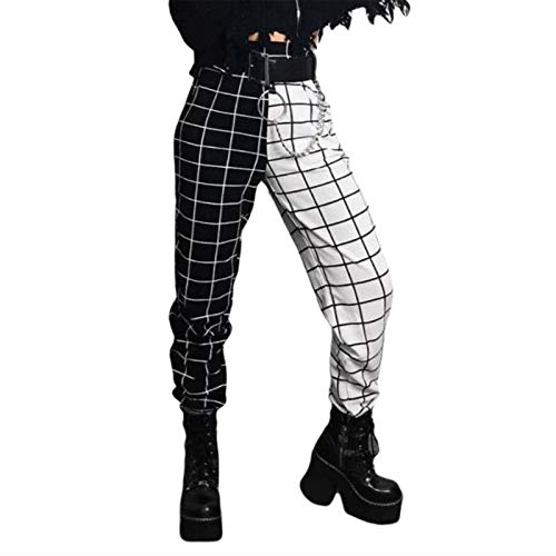 Women's Gothic Plaid Color Block Sweatpants Stretchy High Waist Tapered Stitching Pants Trousers...