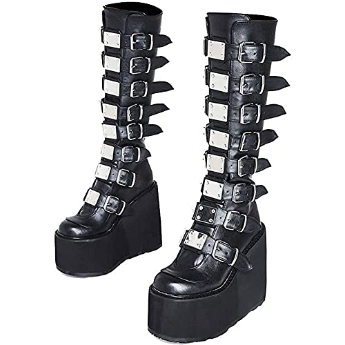 Womens Goth Knee High Boots Wedge High Heel Motorcycle Platform Combat Ankle Boots