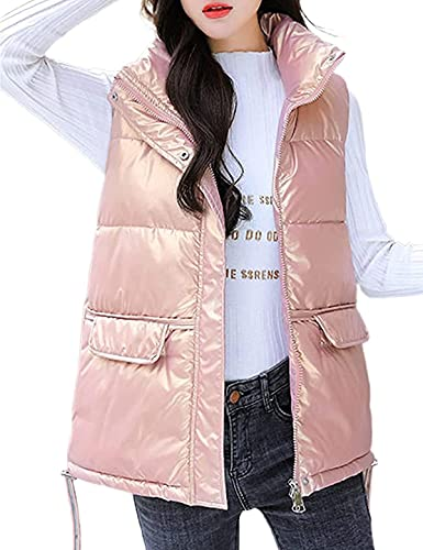 Women's Casual Zip Up Shiny Puffer Vest Stand Collar Sleeveless Jackets