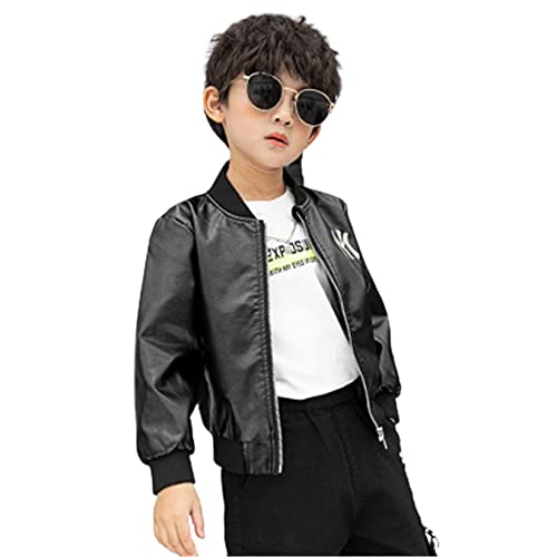 WYKDL Child Fashion Graffiti Cycle Classic Leather, Motorcycle Biker Jacket for Boy,Suitable for All...