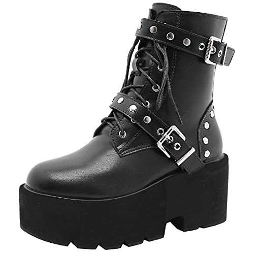 Agodor Women's Punk Biker Ankle Boots Gothic High Heel Buckle Platform Lace up Chunky Goth Combat...