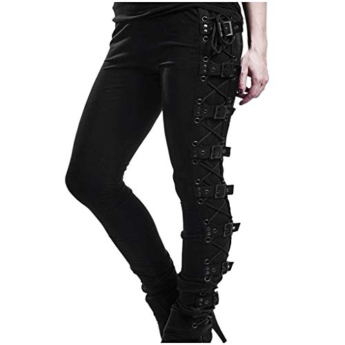 Plus Size Womens Pants Gothic Criss Cross Lace Up Buckle Strap Skinny Leggings Steampunk Ladies...