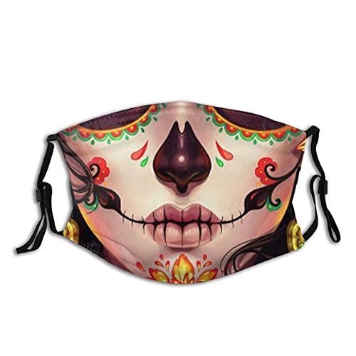 Sugar Skull Face Mask, Washable & Reusable Balaclava Dustproof Adjustable with 2 Filters for Women...
