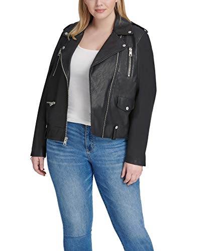 Levi's Women's Plus Size Faux Leather Contemporary Asymmetrical Motorcycle Jacket, Midnight Black,...