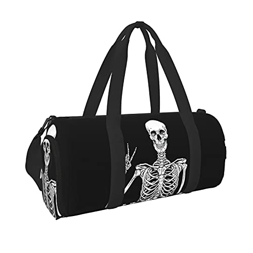 Funny Skull Sports Gym Duffel Bag for Men and Women with Wet Pocket Shoe Compartment Weekender...