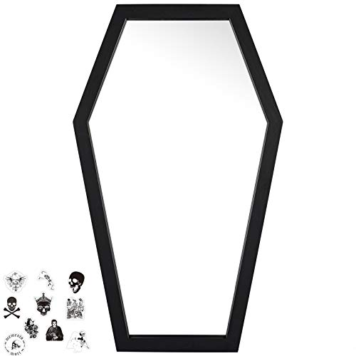 Gothvanity Coffin Mirror - Gothic Decor for Bedroom ,Living Room or Bathroom - Hooks Included -...