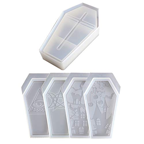 4 Shape Halloween Coffin Molds Coffin Box Silicone Molds Skull Ghost House Storage Box Resin Casting...