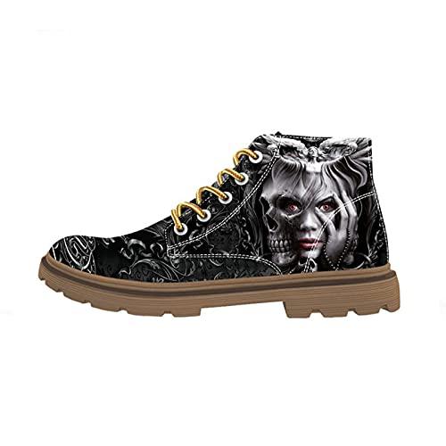 FIRST DANCE Boots for Women Clown Skull Face Print Shoes Skull Shoes Fashion Womens Boots Black...