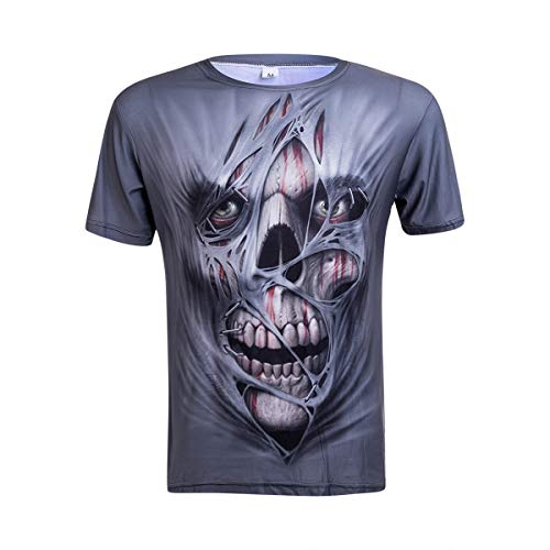 Men's 3D Printed Skull T-Shirts Men Gym Outdoor Sports T-Shirt Fitted Quick Dry Running Fitness Tops...