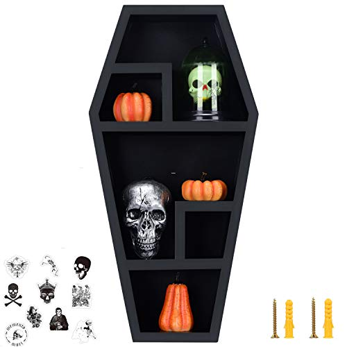Gothvanity Coffin Shelf - Large - Gothic Home Decor for Display or Storage - 20X10X4 Inches -Wooden...
