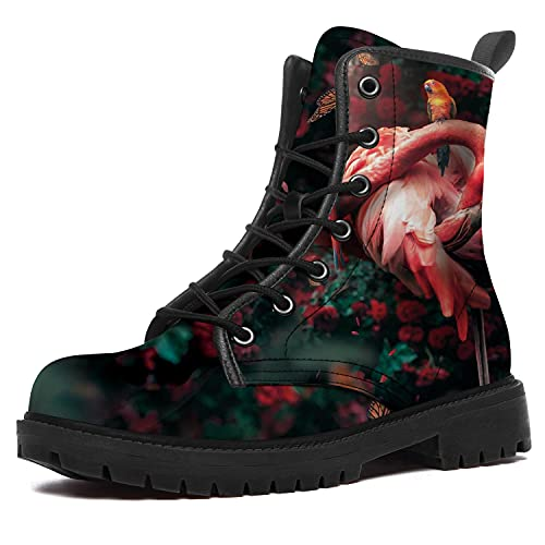 Flamingo Boots for Women Men Waterproof High Top Boots Red Flamingo Boots Durable Non-Slip Hiking...