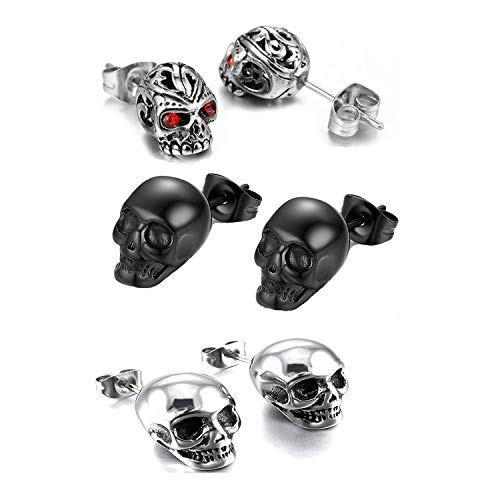 3 Pairs Gothic Skull Earring Studs for Men Women,Hypoallergenic,for Hallloween Party Cosplay