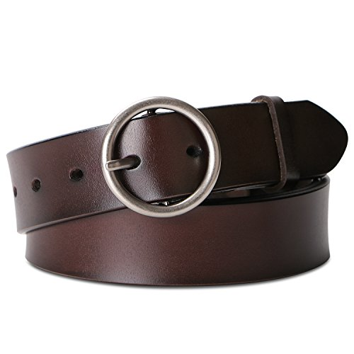 Belts for Women Fashion Brown Leather Belts for Jeans Dress Pants With Round Buckle By SUOSDEY