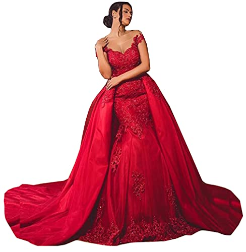 Red Sequins Lace up Corset Bridal Ball Gowns with Detachable Train Mermaid Wedding Dresses for Bride