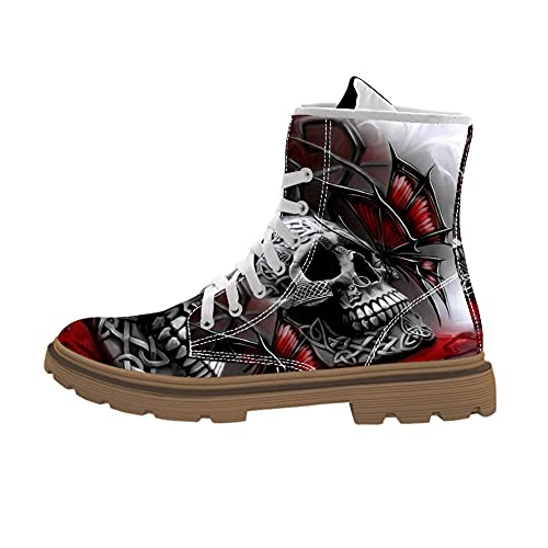 FIRST DANCE Cool Skull Print Design Mid-Carf Fashion Boots for Men Motorcycle Combat Boots High Top...