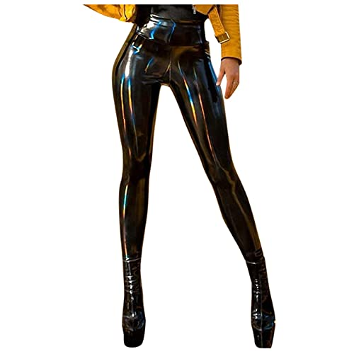 Misaky Women's Fashion Leather Leggings Pencil Pants High Waist Sexy Skinny Faux Leather Leggings...