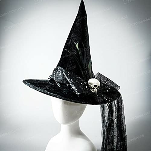 Witch Hat Halloween Costume Hat with Veil Skull and Elegant Feathers Wedding • AmaCart LLC