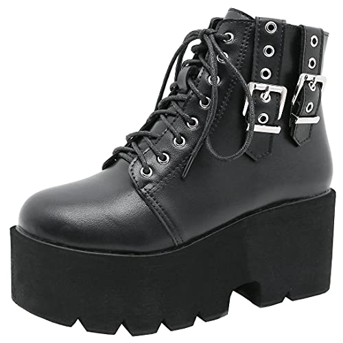 Agodor Women's Platform Goth Punk Combat Boots Lace up Chunky High Heel Gothic Ankle Boots (US 8,...