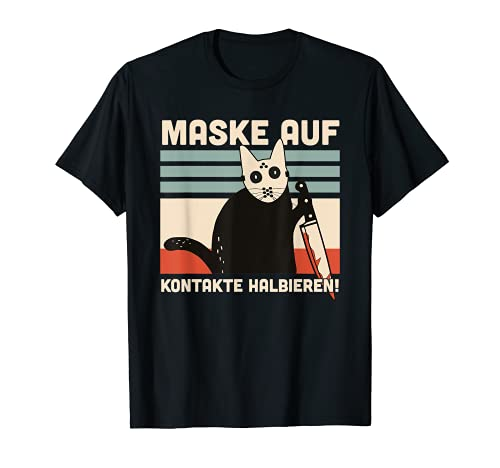 Mask on contacts halves funny cat saying T-Shirt