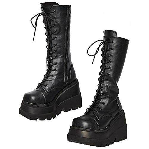 Womens High Platform Mid Calf Wedges Chunky High Heel Round-Toe Side Zip Fanshion Combat Boots For...
