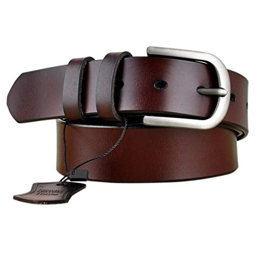 Vonsely Genuine Leather Belts for Dresses, Women Leather Fashion Belts for Pants, Wide Coffee 115CM