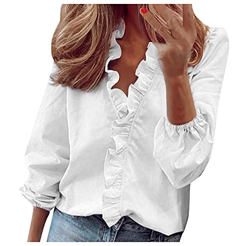 Women Ruffle Long Sleeve Tops Daily Casual Full Sleeve V-Neck Tunic Blouse Solid Color Plus Size...