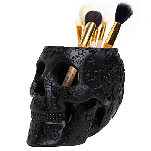 Skull Makeup Brush and Pen Holder Extra Large, Strong Resin Extra Large By The Wine Savant (Black)