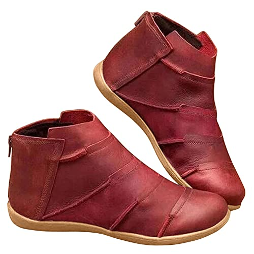 Gyouanime Flat Boots Womens Comfy Ankle Boots Soft pu Leather Vintage bootines for Ladies Outdoor...
